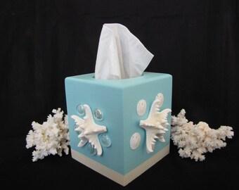 Seashell tissue box cover beach decor shell tissue box nautical decor coastal decor beach - Beach themed tissue box cover ...