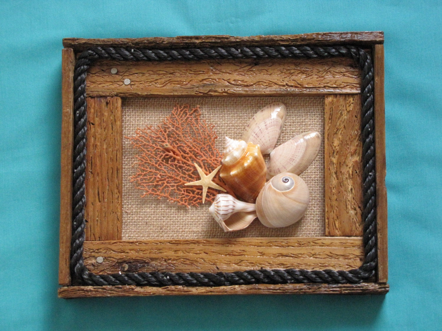 seashell wall decor rustic lobster trap frame by. Black Bedroom Furniture Sets. Home Design Ideas
