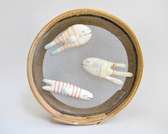 Set of Three Ceramic Fish Magnets, Decorated with color stripes. Ready To Ship