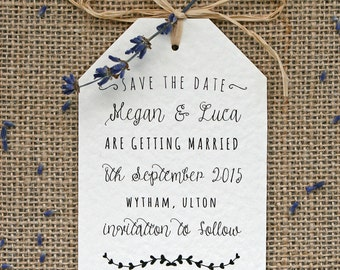 Rustic, Vintage, Lavender and Raffia Tag Style Save the Date Card