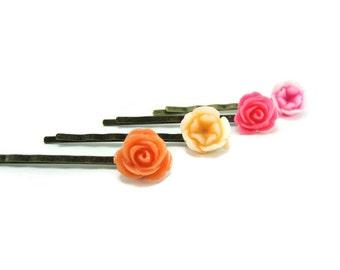 Flower Hair Pins Resin Rose Hair Pin Pink Orange Set of 4  Floral Bobby Pin  Bridesmades Gift Pink Flower Hair Pin  Gift Under 20