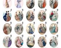 016 - Cameos - Victorian Woman Dress - Digital Collage Sheet 30 X 40mm (300 Dpi - Adobe PDF)