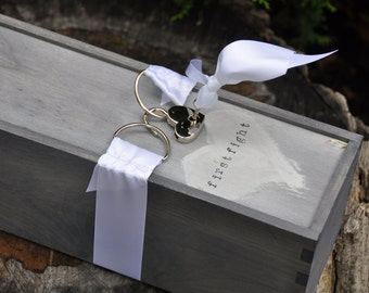 Wedding wine box ceremony with lock first fight box memory box wedding time capsule anniversary box with lock and key