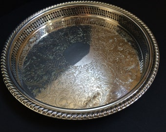 International Silverplate Tray,Scrolled, Pierced and Gadroon Edge