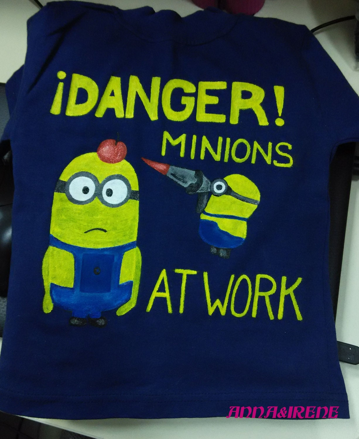 Design t shirt blue cotton - Kids T Shirt With Hand Painted Design Of Minions Minions Hand Painted Baby T