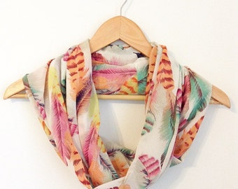 Feathers Infinity Scarf, chiffon Feathers Scarf, Eternity Scarf, Lightweight Scarf, Summer Scarf