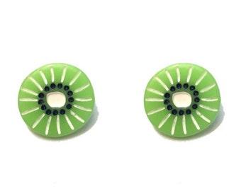 """Femme Fruit Collection Handmade """"Kiwi Cutie"""" Green Kiwi Slice Earrings"""