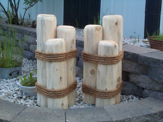 Nautical Outdoor Decor Ideas: 2 Wooden Pilings Lawn Or Pier Dock Ornaments Outdoor Cedar