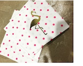 20 Flamingo preppy napkins: pink and gold polka dots
