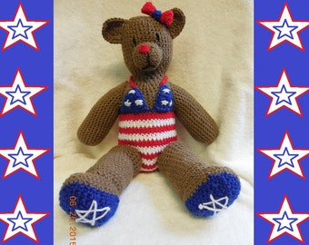 Crocheted Fourth of July Independence Day Patriotic Teddy Bear in an American Flag Swimsuit