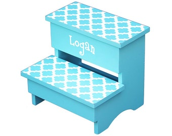 step stool - aqua modern trellis pattern - personalized gift for baby - unique nursery bedroom  sc 1 st  Etsy & Unique step stool | Etsy islam-shia.org