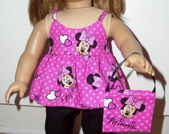"New Handmade Pink & Black  Minnie Mouse Outfit with Headband and Purse Fits 18"" American Girl Dolls Doll Clothes"