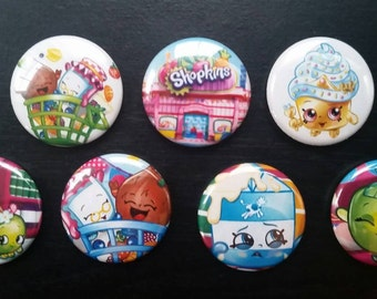 Shopkins buttons, pinbacks a total of 15