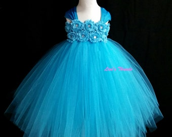 Turquoise flower girl dress/ Blue flower girl dress/ Flower girl pixie tutu dress/ Rhinestone tulle dress(many other colors available)