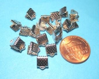 30pcs Silver Tone Textured Pinch Crimps Cord Ends Ribbon Crimps 6x5mm