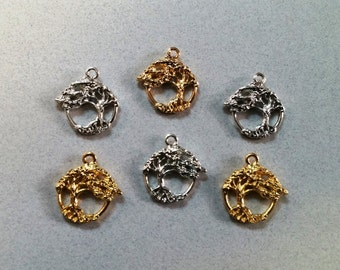 6 Tree Of Life Charms, Sterling Silver and 24K Gold Plated Pewter, Made in the U.S.A.