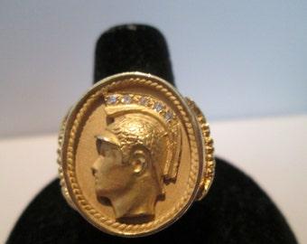 Mens 14k gold Roman soldier ring