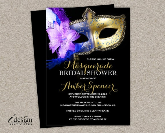 Masquerade bridal shower invitation diy printable mardi gras for Masquerade invitations template free