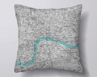 Vintage London Map  - Cushion Fabric Panel Or Case or with Filling