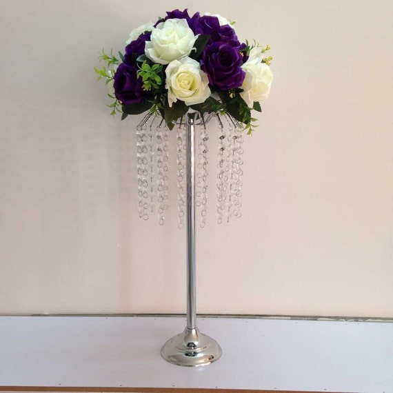 Wedding Centerpieces Flower Balls : Wedding crystal floral feather ball flower stand