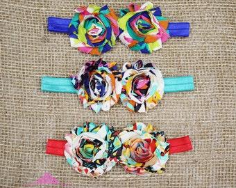 Baby Headbands - baby girl headband - baby flower headband - infant headbands -- newborn headband - shabby headband