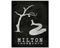 John Milton Paradise Lost - Snake Under Tree Falling Apple Sin Garden Of Eden Epic Poem Book Lover Gift Library Decor English Author