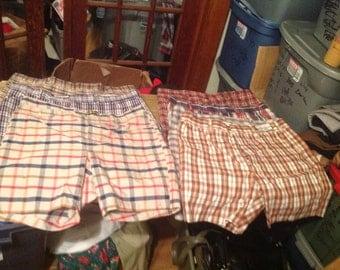 Men's vintage permanent press 1970's plaid shorts golf trunks briefs size 42 waist pants pick 1  pair for 20 dollars