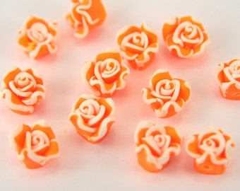 Polymer Clay Bead, 20pcs Polymer Clay Beads, Orange Flower Rose Polymer Clay Bead, Handmade Polymer Clay Bead, Flower Polymer Clay Bead