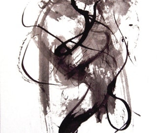 Abstract Ink Painting,Black and White, Modern Painting, Modern Art, Contemporary Art, Small Abstract Painting