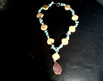 Handmade 20 Inch Howlite, Feldspar, and Druzy Agate Pendant Necklace