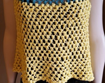 Blue & Yellow Crocheted Peasant Top