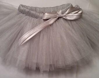 Silver Tutu, silver baby tutu, baby tutu, infant tutu, toddler tutu, newborn tutu, girls tutu, tulle tutu, wedding tutu, Christmas tutu