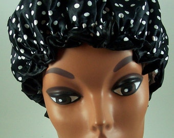 New fashionable double layer Polyester Satin shower cap!#3