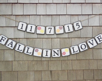 Fall in Love Banner, Fall Bridal Shower Decor, Fall In Love Garland, Fall Save the Date, , Fall Wedding Decor, Photo Prop, Engaged Banner