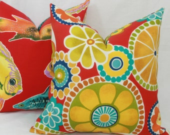 """Red, yellow, turquoise & green floral indoor/outdoor throw pillow cover. 18"""" x 18"""". toss pillow."""