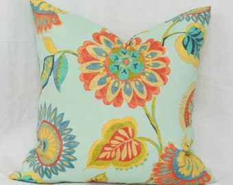 Orange, yellow, aqua floral outdoor throw pillow cover 18x18 Floral pillow Orange aqua pillow Orange outdoor pillow Aqua outdoor pillow
