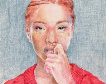 Original Colored Pencil Portrait of a Model