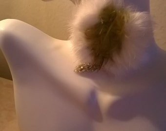 Feather white fur earrings