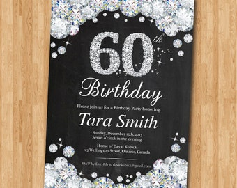 60th Birthday Invitation Chalkboard. Rhinestone Diamond Elegant Birthday Bash invite. Black and White. Ang age. Printable Digital.
