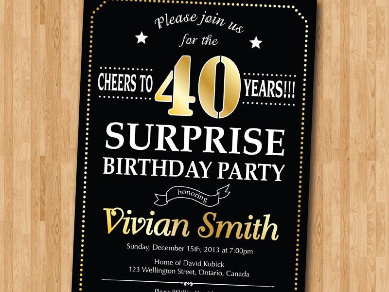 Surprise 40th birthday invitation. 30th 50th 60th 70th 80th