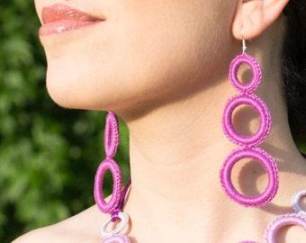 15% DISCOUNT! Handmade crochet earrings - cyclamen color - rings - very LIGHT!