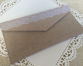 Canvas and Lace Clutch