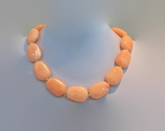 Big Bold Chunky Single Strand Peachy Pink Necklace Spring Summer Jewelry Free Shipping to USA
