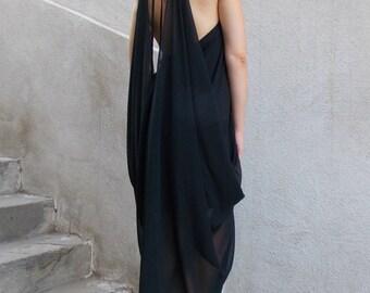 Black Summer Dress / Black Dress / Backless Summer Dress / Chiffon Dress / Little Black Dress TDK132