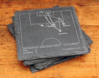 U.S. World Cup Greatest Plays - Slate Coasters (Set of 4)