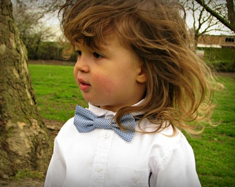 Toddler bow tie, blue and white dotty