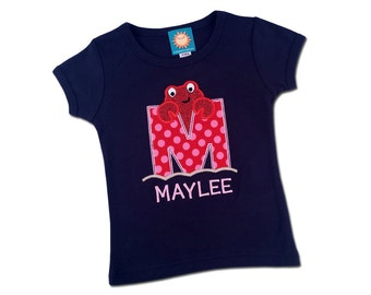Girl Crab Shirt with Letter, Glitter Crab and Embroidered Name