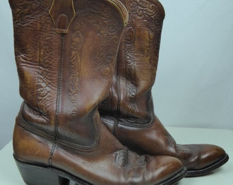 Men's Tooled Look Leather Cowboy Boots