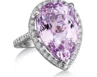 Pear Shape Kunzite Cocktail Ring 15.34ct Genuine Rare Natural Diamonds Halo Engagement Dinner Wedding Ring pristine custom rings