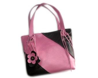 Leather tote bag , shoulder bag, pink and black, fringes